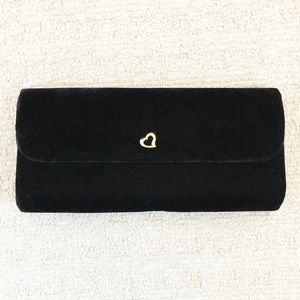 Vintage black velvet & gold heart clutch purse